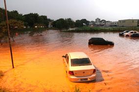 O volume das águas é impressionante quando da incidência de chuvas mais pesadas