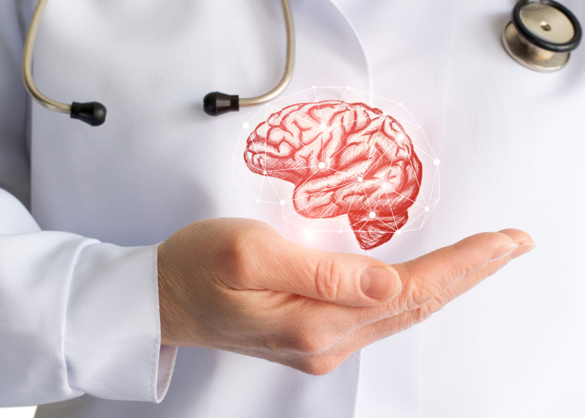 Doctor's hand shows brain . The concept of the study of consciousness.