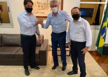 Caiado, recebe Alexandre Baldy, presidente do PP/GO e o deputado progressista Adriano Avelar